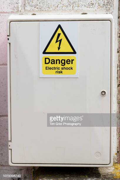 electrical equipment  box and warning sign - electrical box stock pictures, royalty-free photos & images