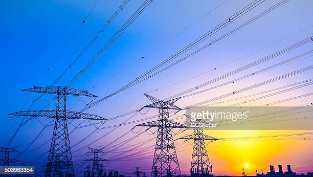 electrical pylons near jabel ali, dubai, united arab emirates - electricity stock pictures, royalty-free photos & images