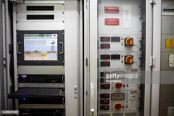 Electrical system information sits on monitoring equipment in the electricity room on the Casablanca oil platform operated by Repsol SA in the...