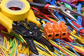 Electrical tools and cables used in electrical installations