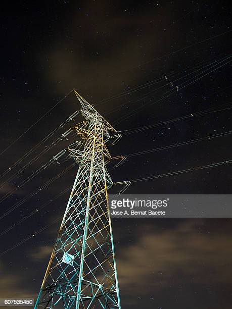 Electrical tower of high tension in the night