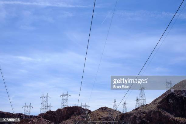 Electrical towers and power lines on the top of a mountain at Hoover Dam, Nevada.