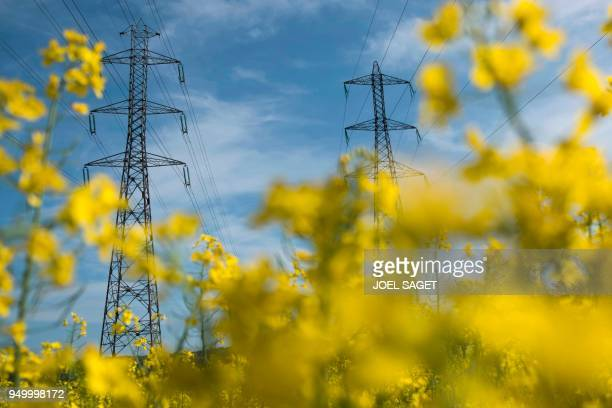 Electrical towers are seen at a colza field on April 22 2018 in Pont Audemer northern France