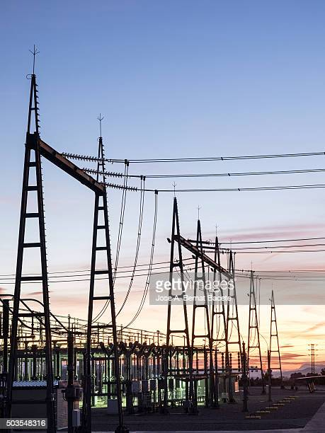 Electrical towers of exit of electricity of an electrical substation