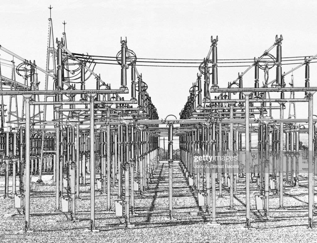 Electrical Transformer Of High Tension In A Distribution Electric Drawing Power Station Stock