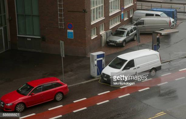 electrical van is in charge at street of helsinki finland