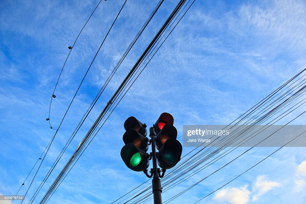 Electrical Wires and traffic signal, Punta Arenas, Patagonia, Chile : Stock Photo