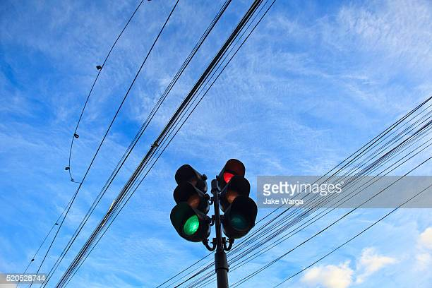 electrical wires and traffic signal, punta arenas, patagonia, chile - jake warga stock photos and pictures