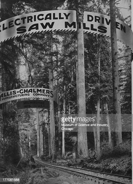 Electrically Driven Saw Mills black and white photograph showing a wooded scenery with railroad tracks going through the middle and signs promoting...