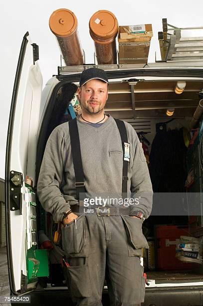 Electrician with his van.