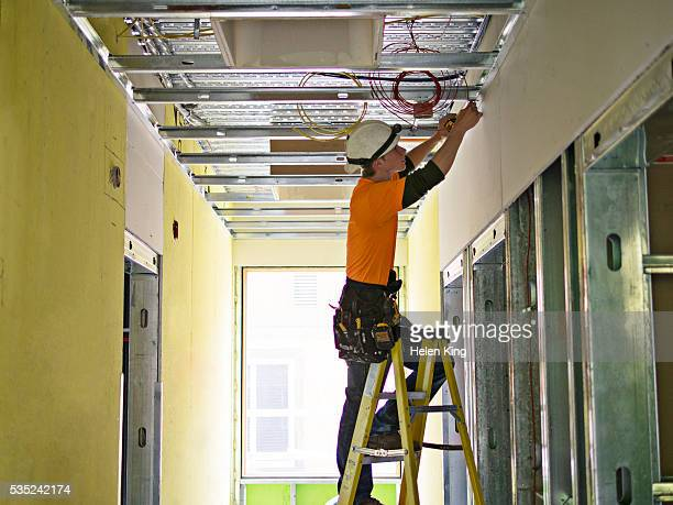 electrician working in new building - 人工物 ストックフォトと画像