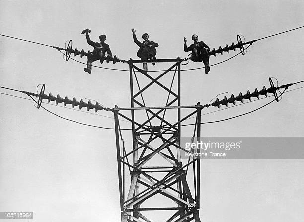 Electricians On The Tension Pylons In 1934