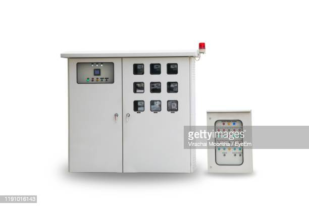 electricity fuse box over white background - electrical box stock pictures, royalty-free photos & images