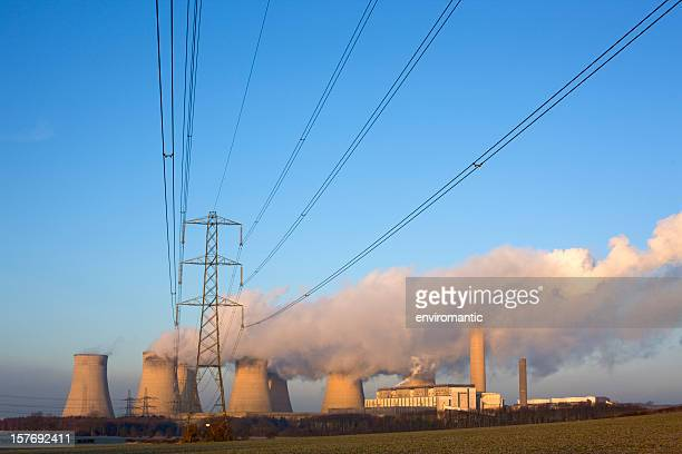 electricity lines and power station. - coal fired power station stock pictures, royalty-free photos & images