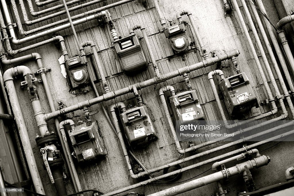 Electricity meters, close-up : Stock Photo