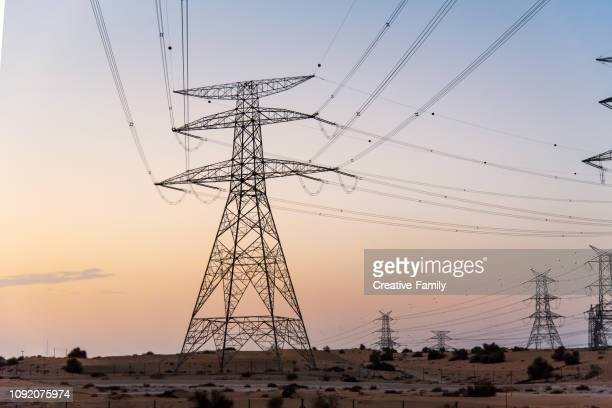 electricity overhead power lines desert at