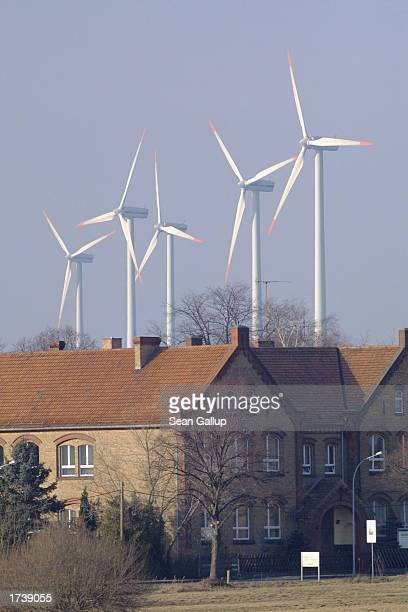 Electricity producing wind turbines spin January 22 2003 near the village of Klettwitz in eastern Germany The percentage of overall electricity...