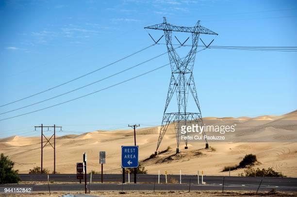 Electricity pylon and rest area near Fort Yuma, California, USA