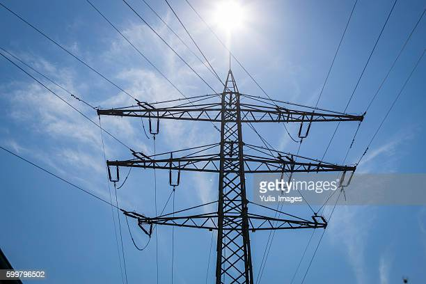 Electricity pylon with high tension power cables