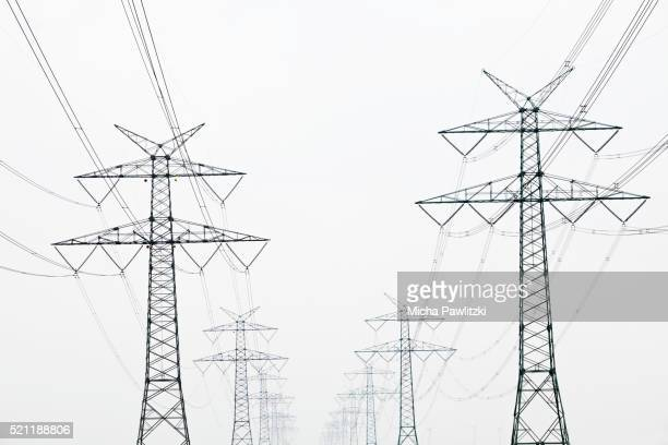 Electricity Pylons and Power Lines near Hamburg, Germany