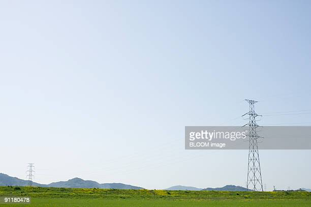 Electricity pylons in green field