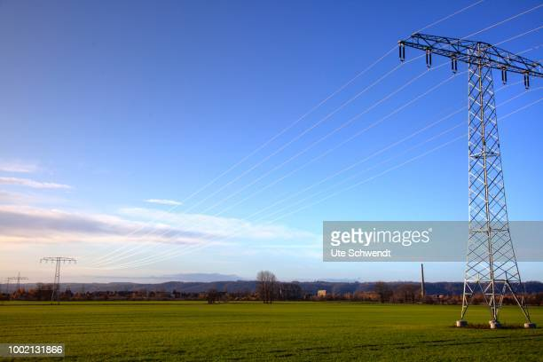 Electricity pylons in Nassau, Weinboehla, Saxony, Germany