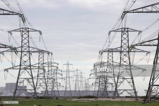 Electricity Pylons run near Dungeness Nuclear Power Station on November 18, 2020 in Romney Marsh, England. The UK Government released details of its...