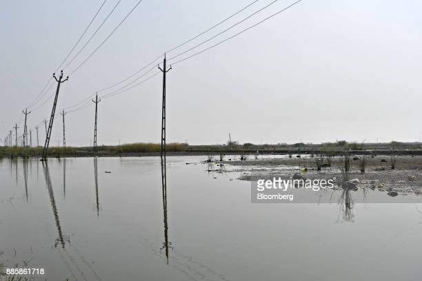 Electricity pylons stand near a waterlogged field on a project site for a 920squarekilometer industrial area located on the DelhiMumbai Industrial...
