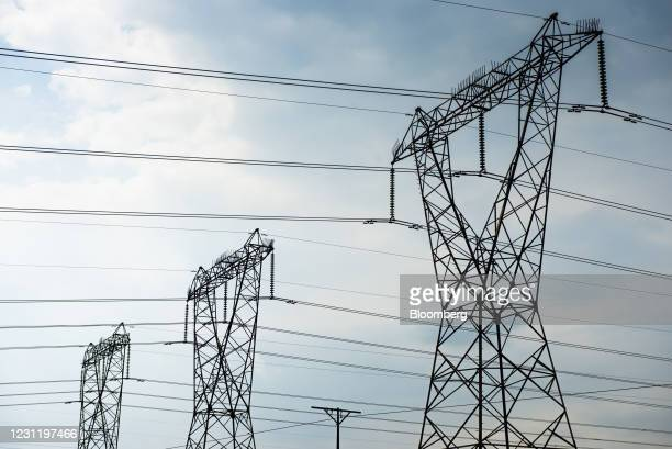 Electricity transmission pylons in Mpumalanga, South Africa, on Tuesday, Jan. 12, 2021. In South Africa, for decadesalmost all the electricity...