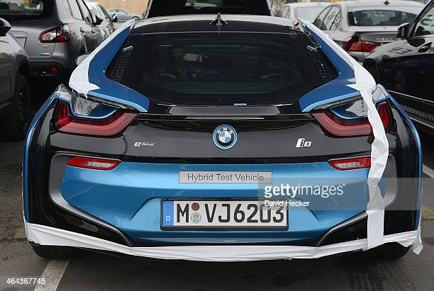 BMW electro car destined for export overseas stand parked and waiting to be loaded onto ship on January 22 2014 in Bremerhaven Germany Bremerhaven is...