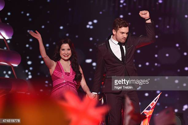 Electro Velvet of United Kingdom arrives on stage during the final of the Eurovision Song Contest 2015 on May 23, 2015 in Vienna, Austria. The final...