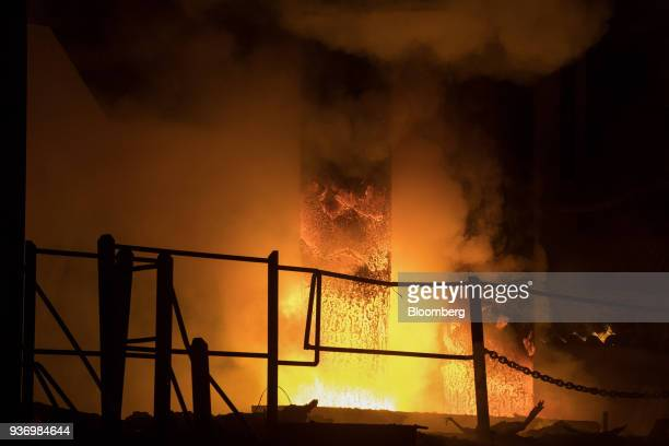 Electrodes are lowered into the electric arc furnace at Liberty Steel's Aldewerke mill in Rotherham UK on Wednesday March 21 2018 Most metals slumped...
