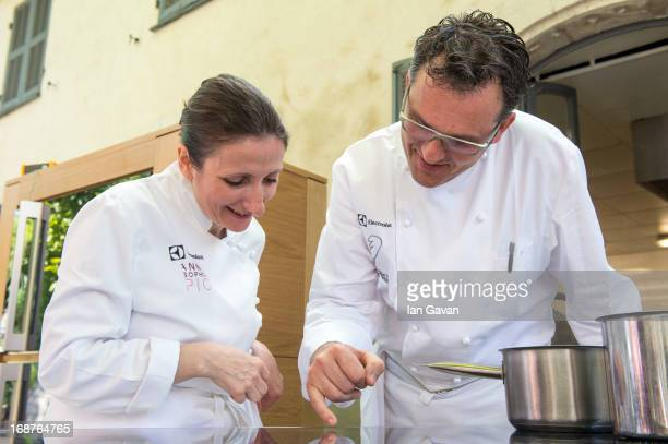 Electrolux partner chefs AnneSophie Pic and Bruno Oger attend Electrolux 'Film Festival de Cannes' Gala Dinner Preparation at Villa Archange on May...