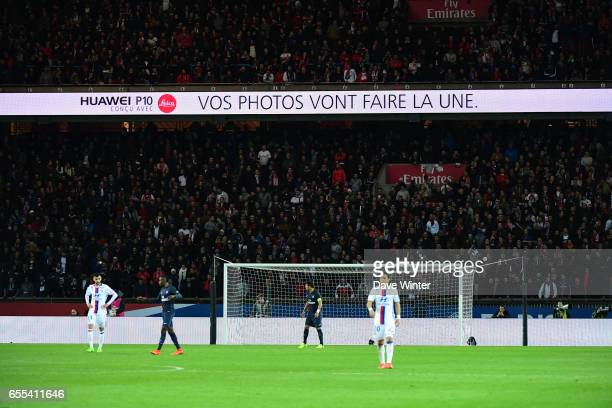 Electronic advertising boards during the French Ligue 1 match between Paris Saint Germain and Lyon at Parc des Princes on March 19 2017 in Paris...