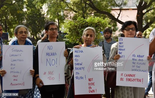 Electronic and Print media journalists stand to protest against the sexual harassment at the workplaces as part of the #MeToo campaign at Parliament...