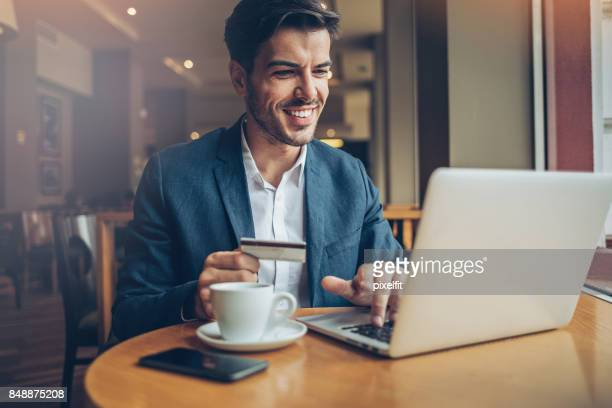 electronic banking - making a reservation stock photos and pictures
