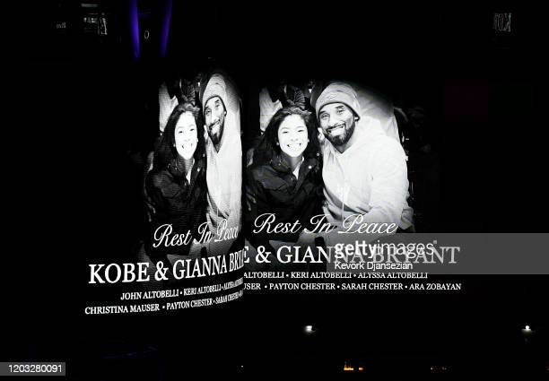 Electronic billboard displayed at LA Live to honor Kobe and daughter Gigi Bryant before the game between the Los Angeles Lakers and the Portland...