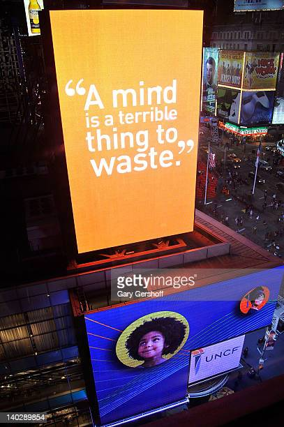 Electronic billboards seen outside of the 2012 UNCF A Mind Is gala at The New York Marriott Marquis on March 1 2012 in New York City
