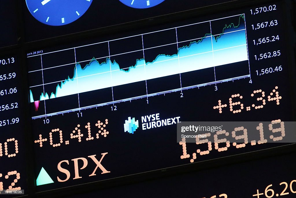 A electronic board at the New York Stock Exchange shows the the closing number for the S&P 500 on March 28, 2013 in New York City. The S&P 500 finished at an all time high, gaining 6 points, or 0.4%, to end at a record close of 1569.19.