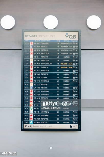 ケベック空港のすべてのフライトの出発時刻と電子ボード