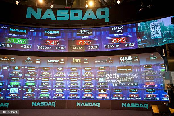 Electronic boards display trading activity at the Nasdaq MarketSite in New York US on Friday Dec 31 2010 US stocks swung between gains and losses...