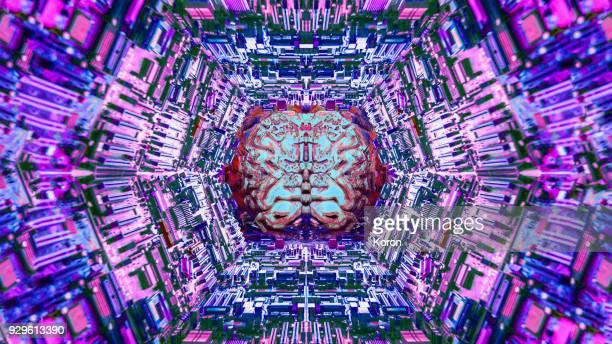 Electronic Brain, AI, microchip motherboard glitch pattern, bitcoin mining