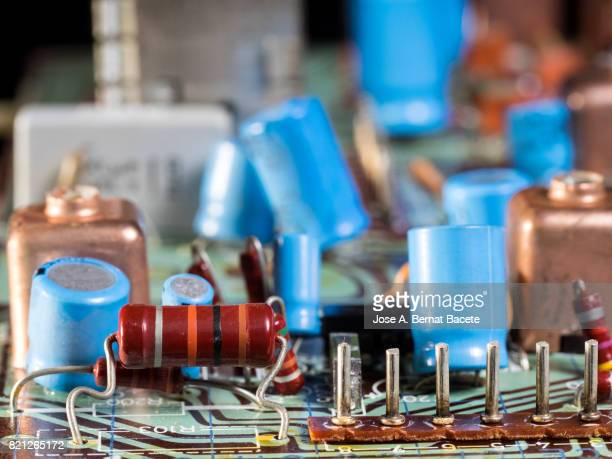 Electronic components and circuit board, close up