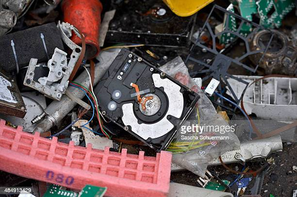 Electronic components including circuit boards sit in a pile ahead of recycling at Aurubis AG on February 7 2014 in Luenen Germany Aurubis is...