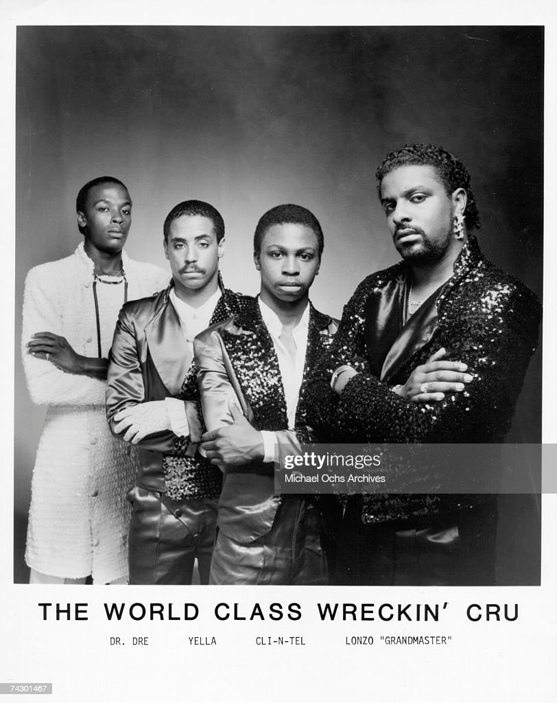 Electronic funk group World Class Wreckin' Cru (L-r Dr Dre (Andre young), DJ Yella (Antoine Carraby), Cli-N-Tel (Marquette Hawkins) and Lonzo 'Grandmaster' (Alonzo Williams) pose for a publicity photo circa 1985 in Los Angeles, California.