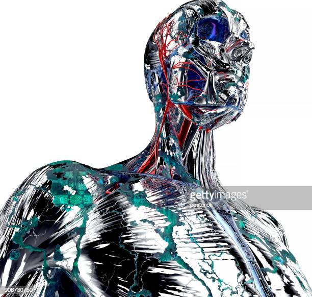 electronic man or male cyborg with binary background - android malware stock pictures, royalty-free photos & images