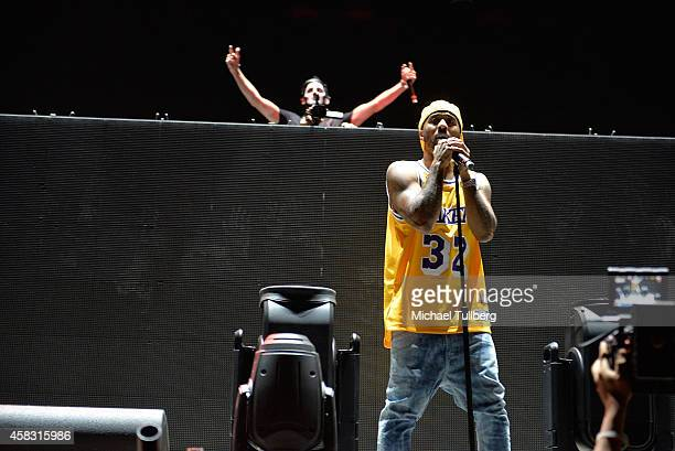 Electronic music artist Destructo and rapper Problem perform during Day 2 of HARD Day Of The Dead 2014 at Fairplex on November 2 2014 in Pomona...
