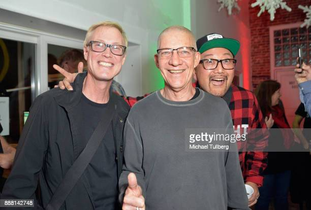 Electronic music artists Christopher Lawrence Swedish Egil and Simply Jeff attend Groove Radio's 14th annual Holiday Groove live broadcast and toy...