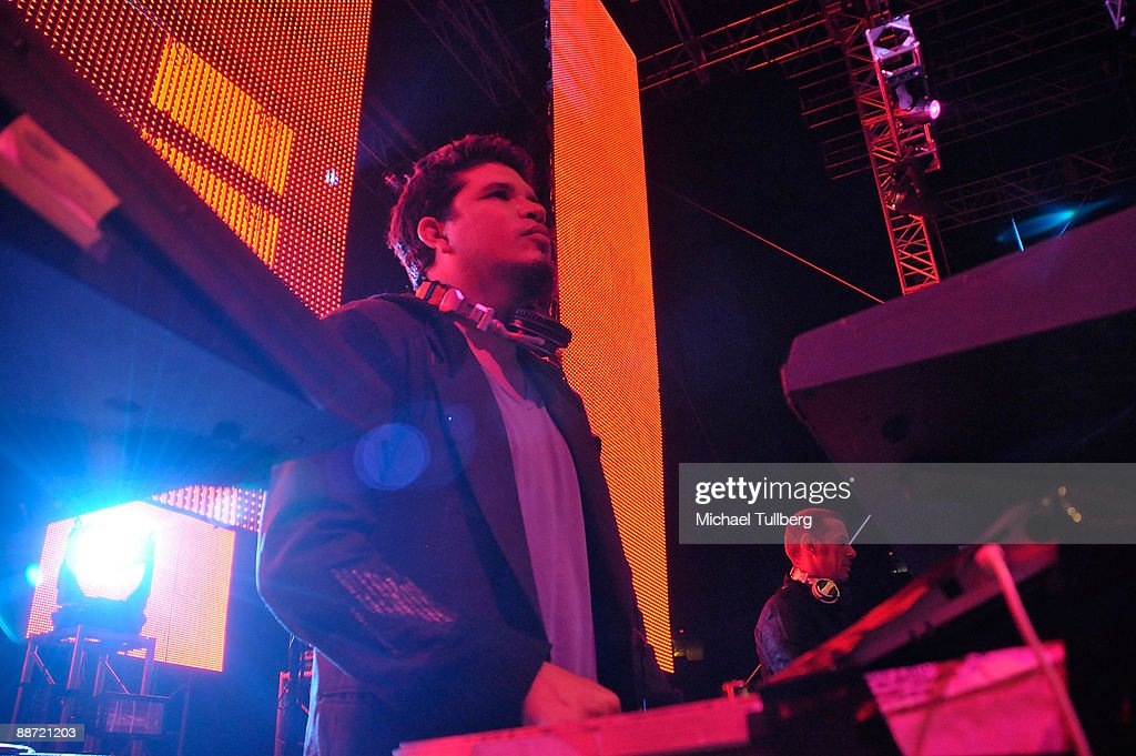 Electronic music artists Rob Garza and Eric Hilton of Thievery Corporation performing onstage at the 13th annual Electric Daisy Carnival electronic music festival on June 26, 2009 in Los Angeles, California.