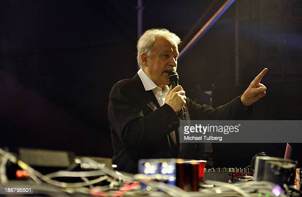 Electronic music pioneer Giorgio Moroder performs during Day 2 of the HARD Day Of The Dead electronic music festival at Los Angeles Historical Park...